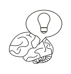 brain thinking idea bubble outline vector image vector image