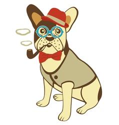 Bulldog smoking pipe vector image vector image