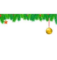 christmas banner with fir branches and red berries vector image vector image