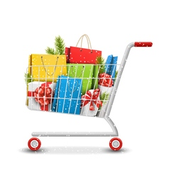 Christmas Winter Sale Shopping Cart with Bags Gift vector image