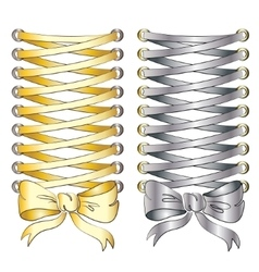Corset lacing gold and silver print on clothes vector