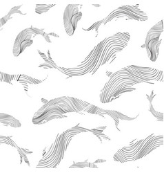 fish silhouette seamless pattern sketch vector image