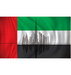 flag of united arab emirates with dubai skyline vector image vector image