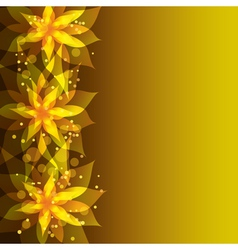 Floral golden background with stylish flower vector image