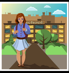 Girl comes home from school vector