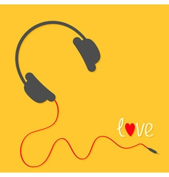 Headphones with red cord Love card White text vector image vector image