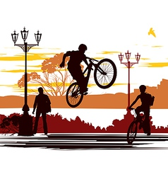 jump rider silhouettes vector image vector image