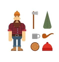 Lumberjack cartoon character with lumberjack icons vector