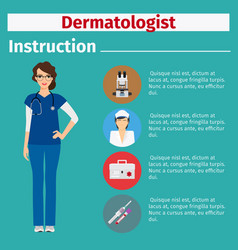 Medical equipment instruction for dermatologist vector