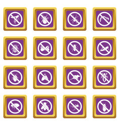 no insect sign icons set purple vector image vector image