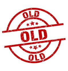 Old round red grunge stamp vector