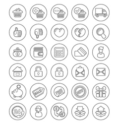 Outline Shopping Icons vector image vector image