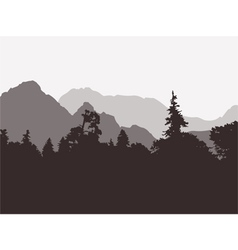 Panoramic view of the forest and mountains vector