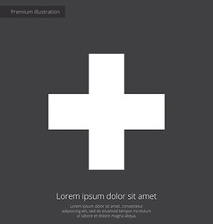 Plus premium icon white on dark background vector