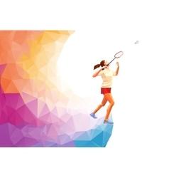 Polygonal professional badminton player vector image