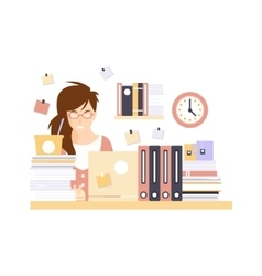 Stressed woman office worker in office cubicle vector