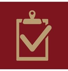 The clipboard icon checklist symbol flat vector