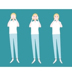 Three women flat composition vector