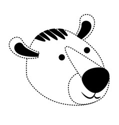 Tiger cartoon head in black dotted silhouette vector