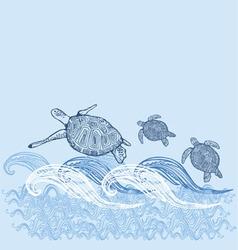 turtle print turtle print blue white sun sea vector image