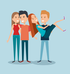 two couples of young people together cartoon style vector image