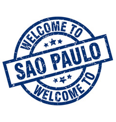 Welcome to sao paulo blue stamp vector