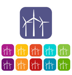 Wind turbines icons set vector