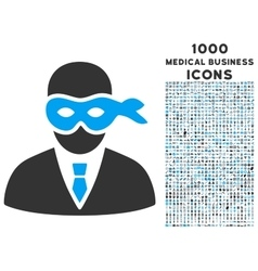 Masked thief icon with 1000 medical business icons vector