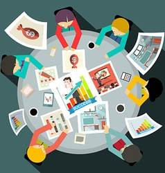 Business People Around Circle Table Top View vector image