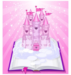 Magic castle appearing from the book vector