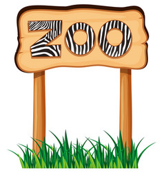 Wooden sign with word zoo vector