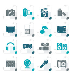 Stylized multimedia and technology icons vector