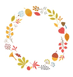 Round floral frame vector