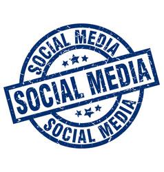 Social media blue round grunge stamp vector