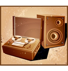 Retro reel tape recorder vector