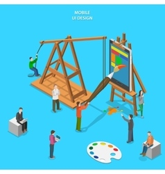 Mobile app UI design flat isometric concept vector image