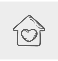 Contoured house sketch icon vector