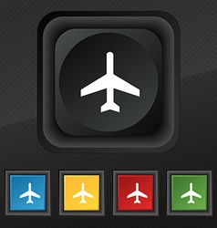 Airplane icon symbol set of five colorful stylish vector