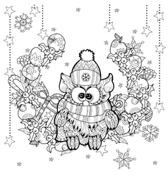 Christmas owl with gift box zentangle doodle vector