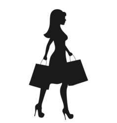 Black icon shopping woman silhouette with bags vector