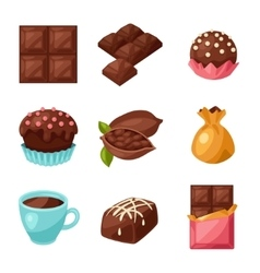 Chocolate set of various tasty sweets and candies vector
