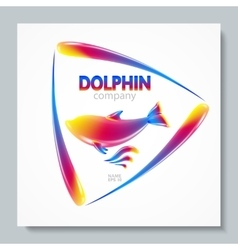 Luxury image logo Rainbow Dolphin To design vector image