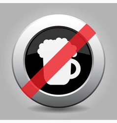 Gray chrome button - no beer vector