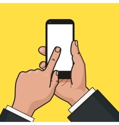 Mobile phone in hand finger touches a screen of vector