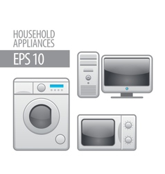 Household appliances icon set vector