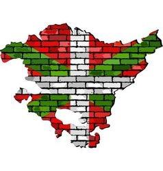 Basque map on a brick wall vector image vector image
