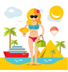 Beach girl flat style colorful cartoon vector