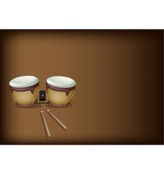 Beautiful bongo drum on dark brown background vector