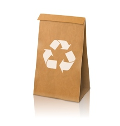 Blank craft realistic paper packaging bag vector image
