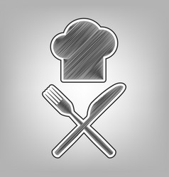 Chef with knife and fork sign pencil vector